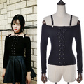 2016 Sexy Off Shoulder Ladies Bodycon Lace Up T Shirt Crop Tops Long Sleeve Slim Casual Black Tops T-Shirt Women Clothes