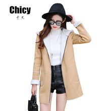 2016 Winter Hooded Long Winter Jacket Women Plus Size Suede Leather Shearling Coats Zipper Clothing Lambs Wool Thick Warm Parka