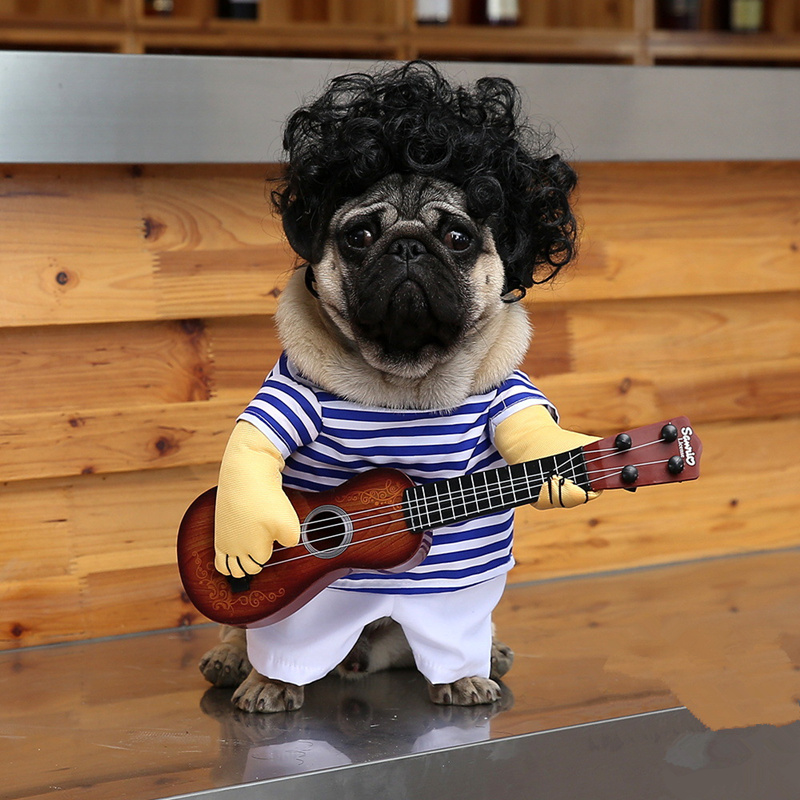 Funny Cats outfit small Dog Puppy Cat Pet Costume Clothes Guitar player Cosplay Christmas Halloween Suit clothes Dog supplies