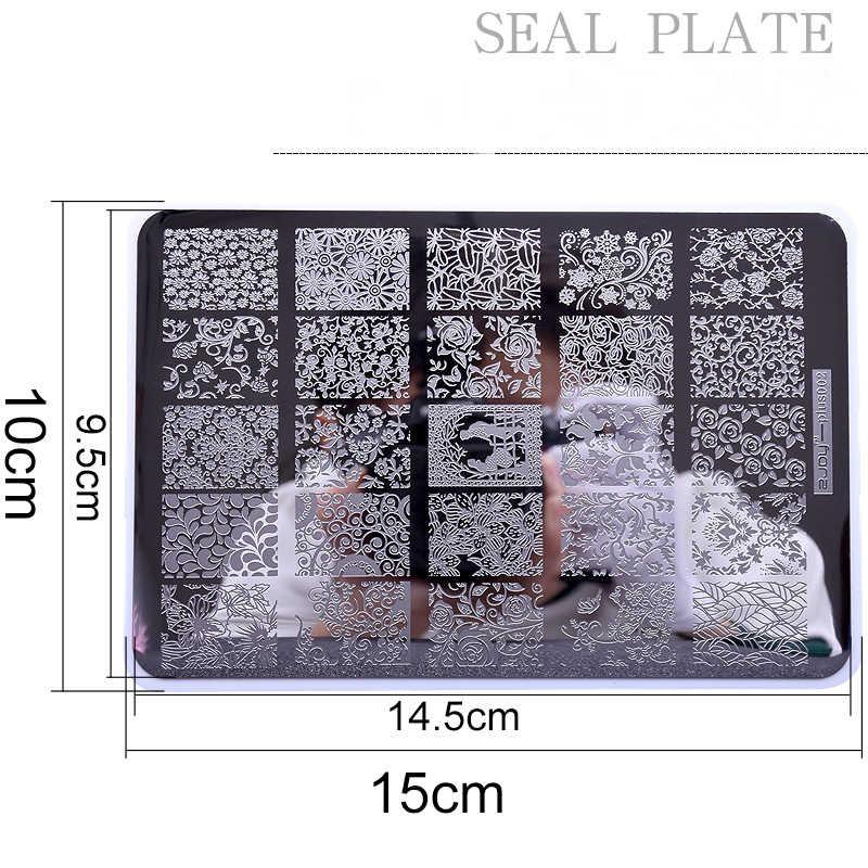 1PCS แผ่นปั๊มเล็บ ZJOY PLUS Stamping Nail Art 14.5*9.5 ซม.ปั๊มแม่แบบดอกไม้รูปแบบเล็บแสตมป์สำหรับเล็บ Art GD72