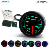 Auto 2 52mm 7 Color LED Smoke Face Water Temp Gauge Water Temperature Meter With Sensor