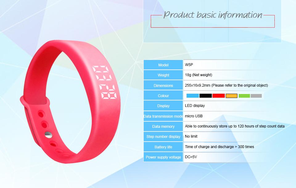 Smart Wristband W5P Smart Bracelet Pedometer Sleep Tracker Temperature Display Smart band Fitness Tracker Smart watch For PC 3