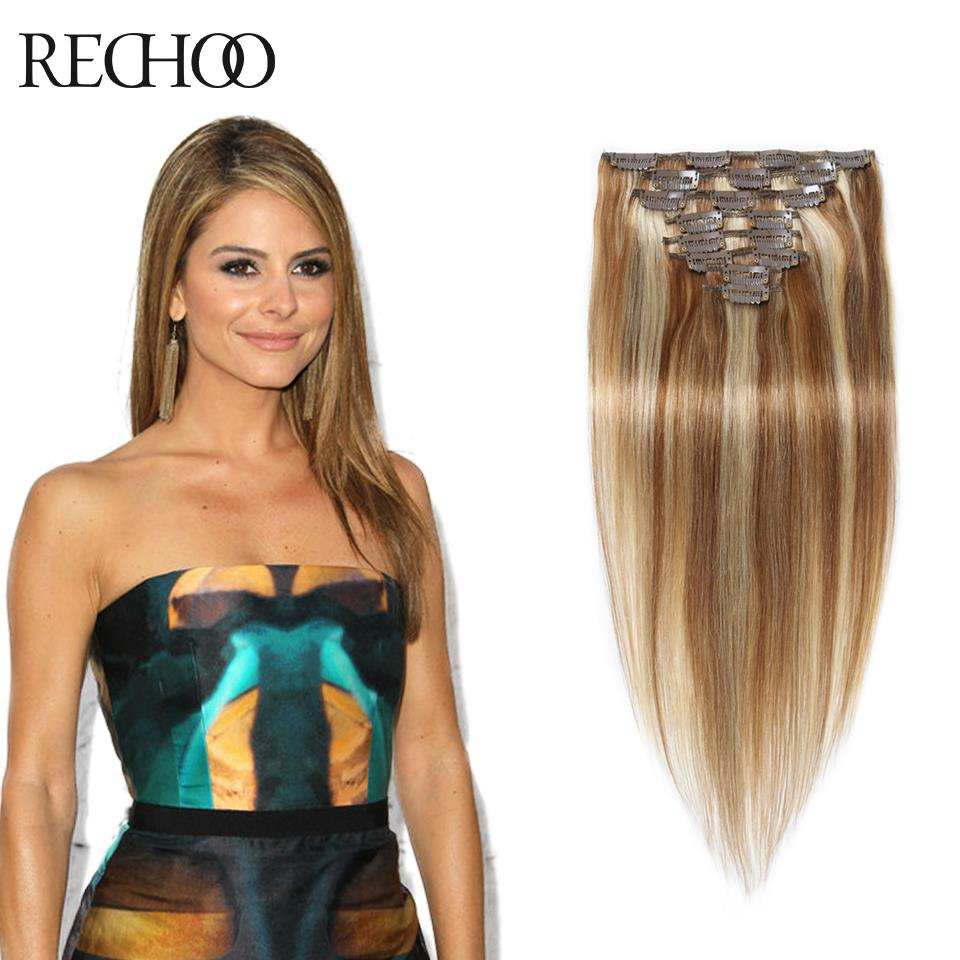 Color 8613 Mixed Shades Clip In Blonde Human Hair Extensions