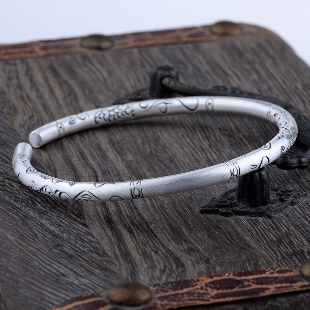Mythic Age Real 999 Fine Silver Vintage Ethnic Chinoiserie Tribal Pattern Bangle Bracelet Jewelry Gift for Woman GirlMythic Age Real 999 Fine Silver Vintage Ethnic Chinoiserie Tribal Pattern Bangle Bracelet Jewelry Gift for Woman Girl