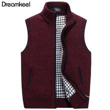 Теплый флисовый свитер плюс размер мужской зимний шерстяной свитер, жилет Мужской без рукавов Вязанный жилет куртка Y