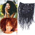 7PCS Brazilian cilp in kinky curly human hair extensions natural black clip in hair extensions 120g hair extensions