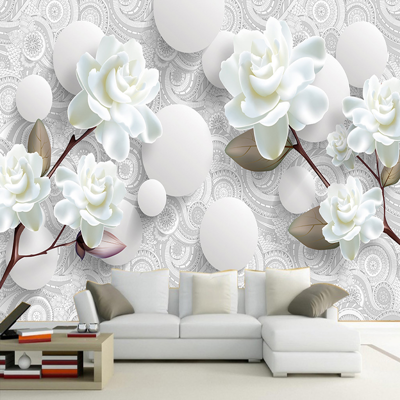 FATMAN Custom Photo Wallpaper Retro 3D Wall Mural White Peony European Style Flower Pattern TV Background Home Decor Wallpaper custom 3d mural wallpaper european style painting stereoscopic relief jade living room tv backdrop bedroom photo wall paper 3d