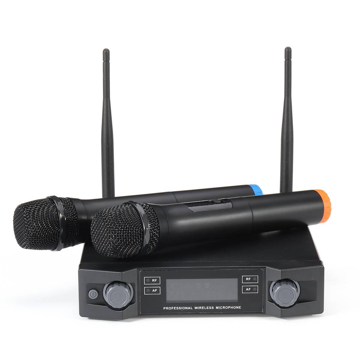 Système de Microphone sans fil UHF dynamique 2 canaux 2 poche karaoké Microphone cardioïde professionnel - 5