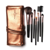 Sale High Quality 7 Makeup Brushes Set Kit In Brown Leather Bag Portable Make Up Brushes