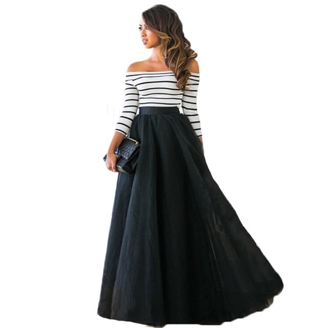 Elegant Women Summer Top+Floor length Fluffy Skirt Suits Party ...