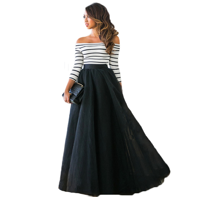 Las Mujeres elegantes Del Verano Top + Palabra de longitud Falda Mullida Ropa Trajes de Fiesta de La Boda de Rayas Muchachas de Las Señoras Del Hombro conjuntos