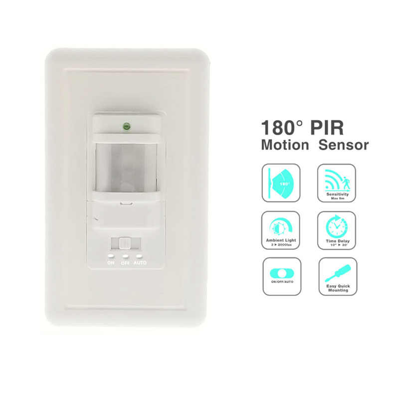 Infrared PIR Motion Sensor Switch PVC Recessed Wall Lamp Bulb Switch On/Off and PIR Switch Light Bulb Switch Assortment