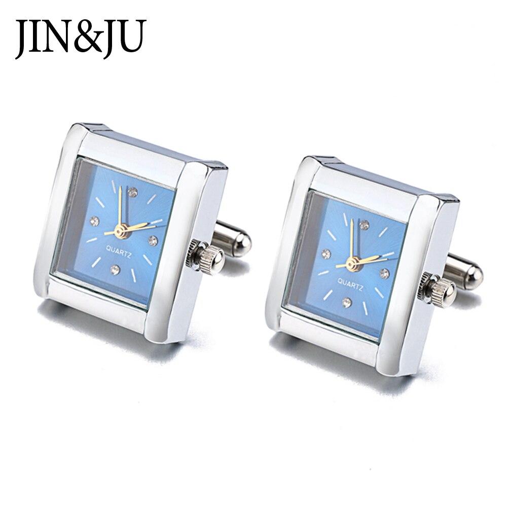 JIN&JU Men Jewelry Hot Sell Clock Design Jewelry Gentleman Cufflinks Functional Watch Cuff links Real Clock For Mens