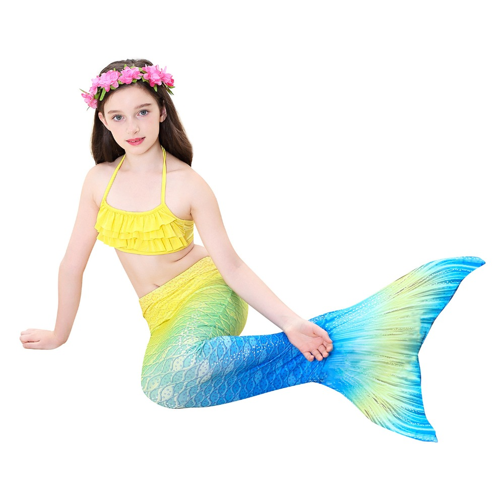 3-12Y Mermaid Tails Costumes With Monofin Fin Girls Bikini Set Kids Swimsuit The Little Tail Mermaid Cosplay Costume