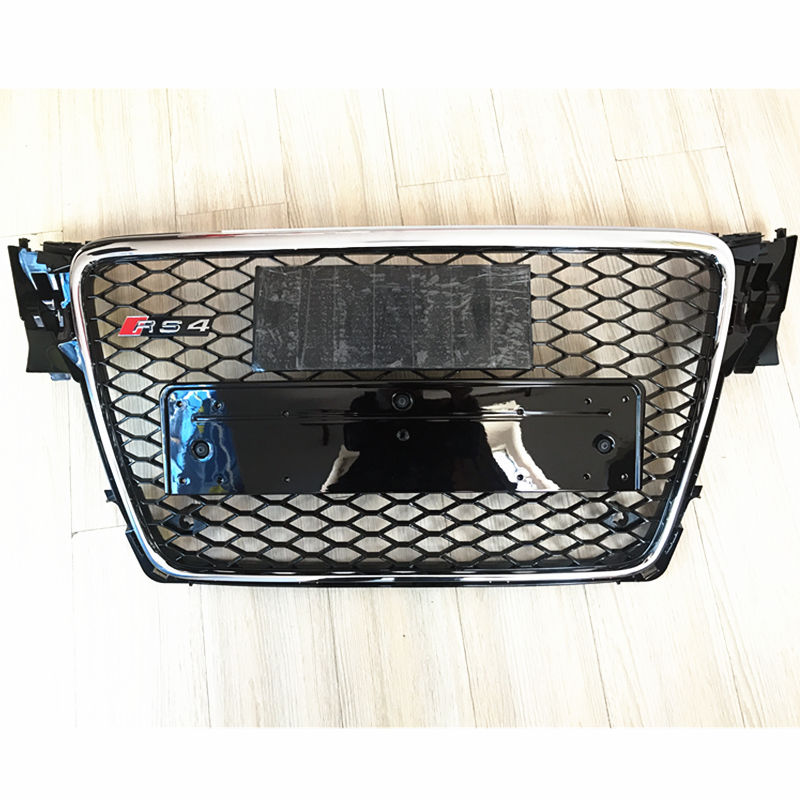 RS4-Styling A4 B8 Grill ABS Black Painted Front Honey Mesh Grille for Audi A4 S4 RS4 B8 Sedan / Coupe / Convertible 2009-2012 17pcs error free led bulb for audi a4 s4 rs4 b8 quattro sedan interior dome map light kit license plate lamp 2009 2015