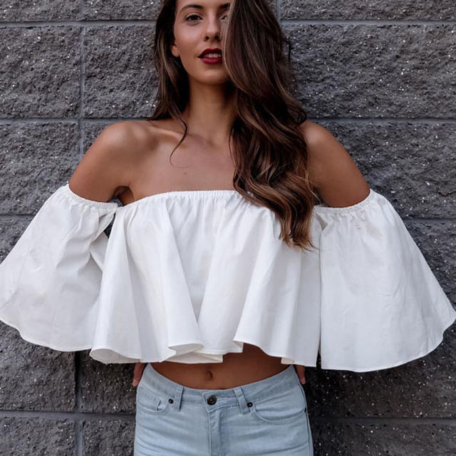 f992d89dec7c New Fashion Women shoulderless Flare sleeve Chiffion Blouses Off shoulder  Shirts Summer Casual Tops