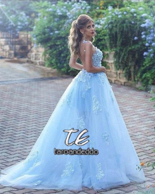 Robe de mariée bleu clair Boho dentelle Applique sans manches une ligne Vestidos de Novia 2019 robe de mariée Vestido de Festa Longo - 3