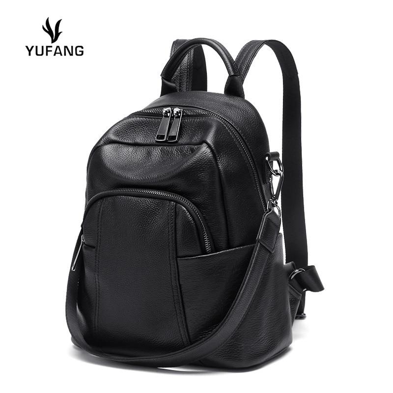 YUFANG sac à dos en cuir véritable femme luxe sacs de créateur dames peau de vache marque femmes sacs d'école solide doux mochila feminina