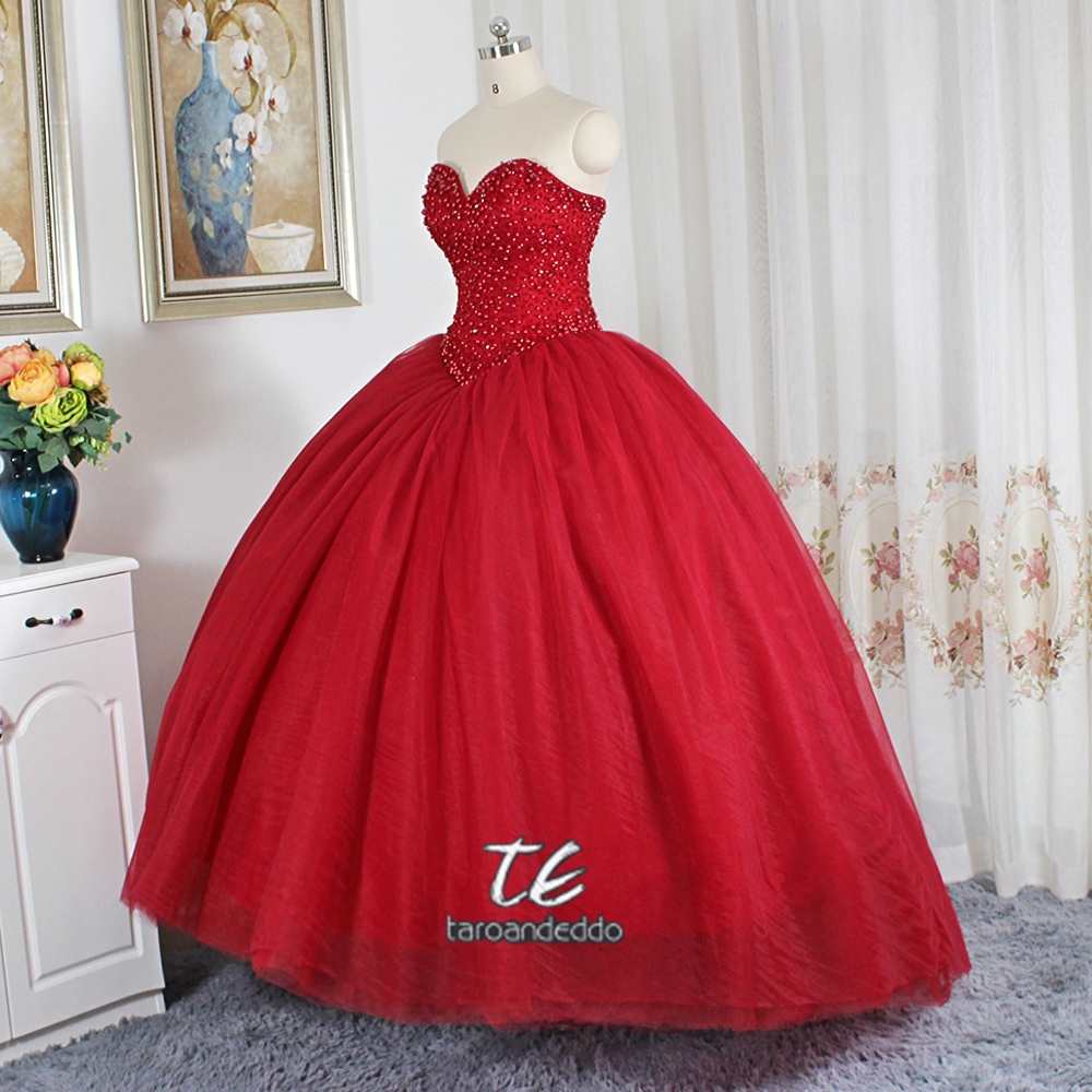 Wine Red Ball Gowns Wedding Dress Puffy Skirt Gowns for Bridal Sweep ...