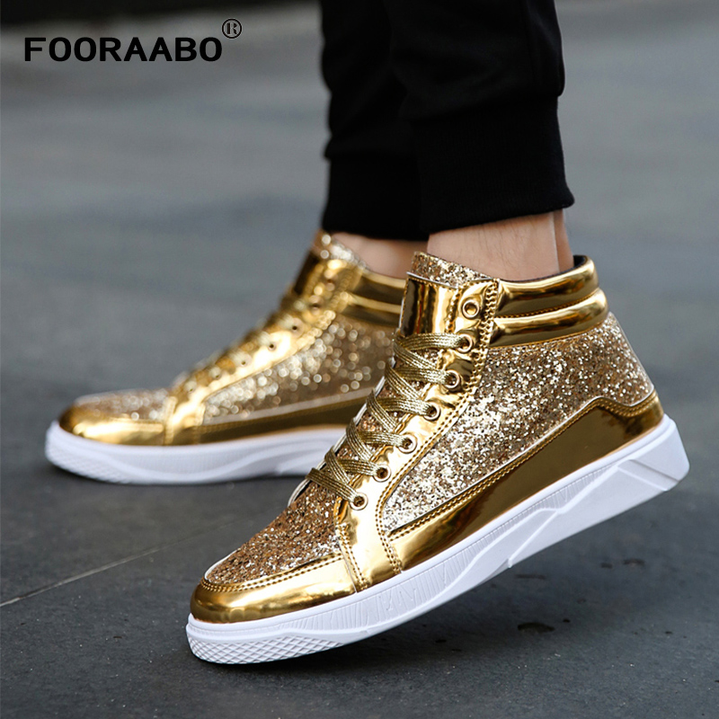 2018 New Luxurious Mens Bright Casual Shoes Breathable High Top Hip Hop Shoes Sapatos Super Male Fashion Leather Shoes Flats 2017 new arrival spring men casual shoes mens trainers breathable mesh shoes male hombre hip hop street shoes high quality