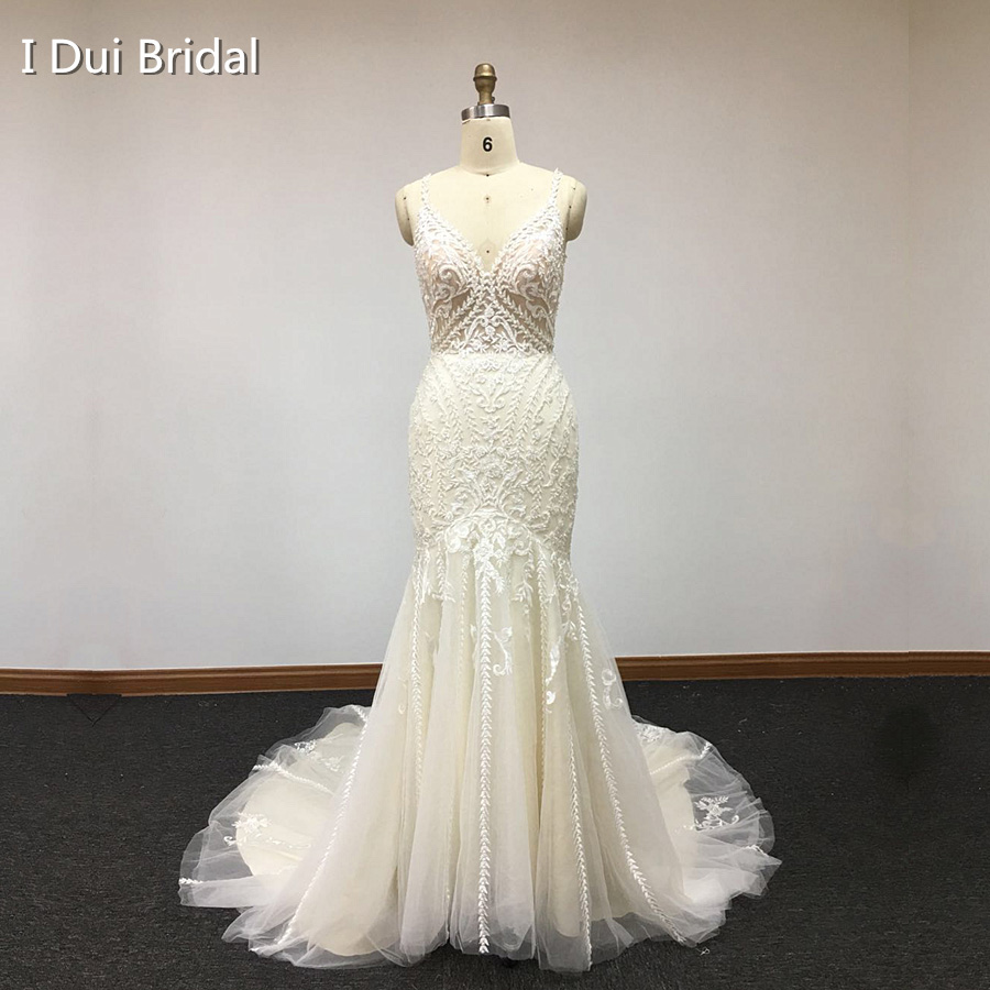 V Neck Mermaid Wedding Dress Lace Appliqued New Factory Custom Made Bridal Gown