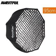 """Godox Portátil 95 centímetros 37.5 """"Softbox Guarda chuva do Refletor Softbox + Grade De Favo de mel para o Flash Speedlight"""
