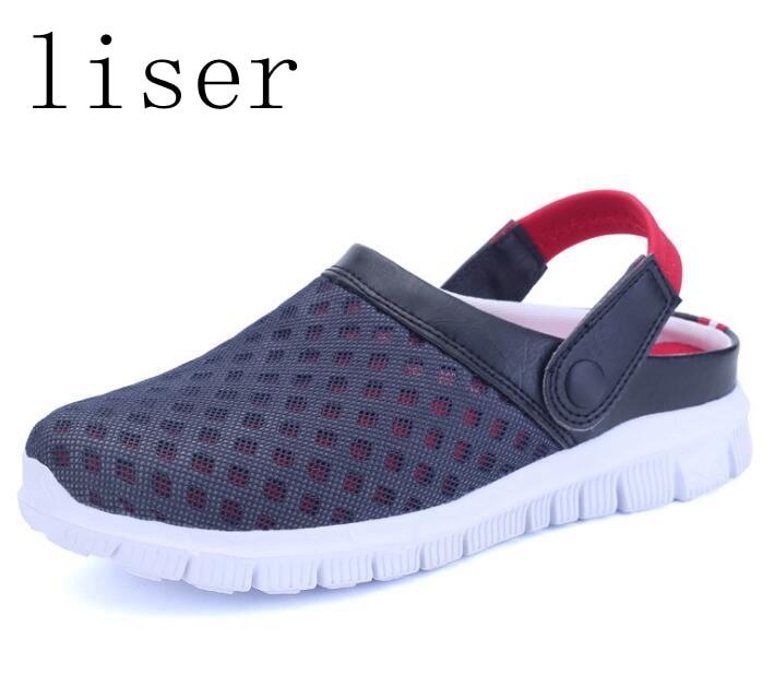 liser Men Sandals Shoes Summer Breathable Unisex Slippers Mesh Flat Flip Flop Female Footwear Slip On Shoe Beach Sandals Outdoor