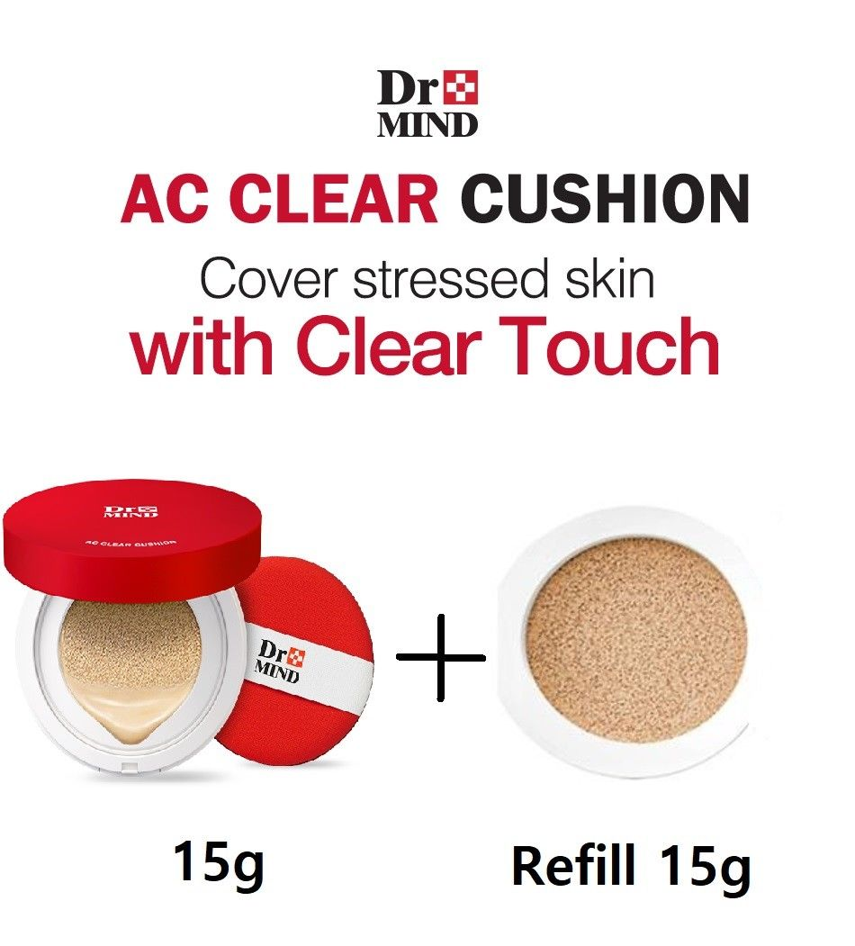 Dr.Mind Ac Clear Cover Cushion Acne 15g(0.52oz)+15g Refill Korea Cosmetics 23 cover beige isheto 15g