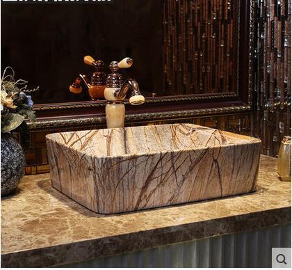 imitacin de mrmol arte etapa cuenca rectngulo de cermica lavabo cuenca archaize restaura maneras antiguas en el fregadero