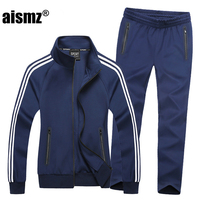 Aismz New Sportswear Men Spring Autumn Set Mens Tracksuit Striped Hoodies+ Pants Men Casual Sporting Suits plus size 6XL 7XL 8XL