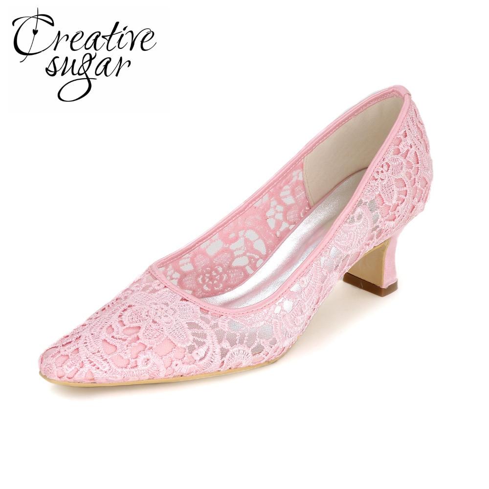 где купить Creativesugar lady lace dress shoes med low heel slip on pointed toe see through shoes bridal wedding party fashion show prom по лучшей цене