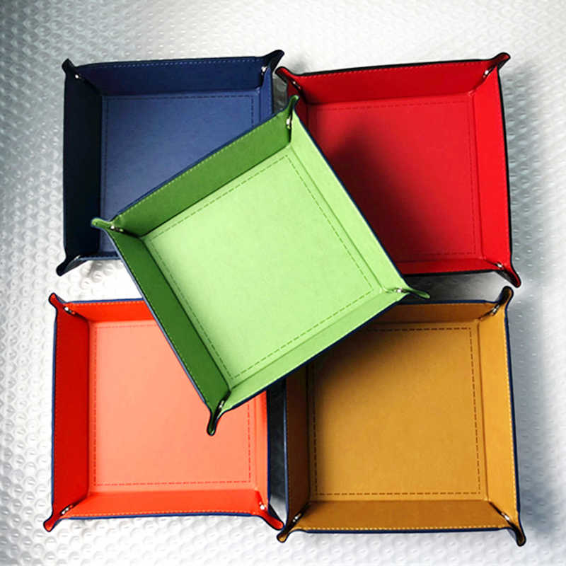 Foldable Storage Box PU Leather Square Tray for Dice Table Games Key Wallet Coin Box Tray Desktop Storage Box Trays Decor
