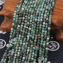 Bhd 2mm 3mm Natural Round Faceted Africa Turquoise Green Gemstone Loose Beads DIY Accessory for Jewelry Necklace Bracelet Making