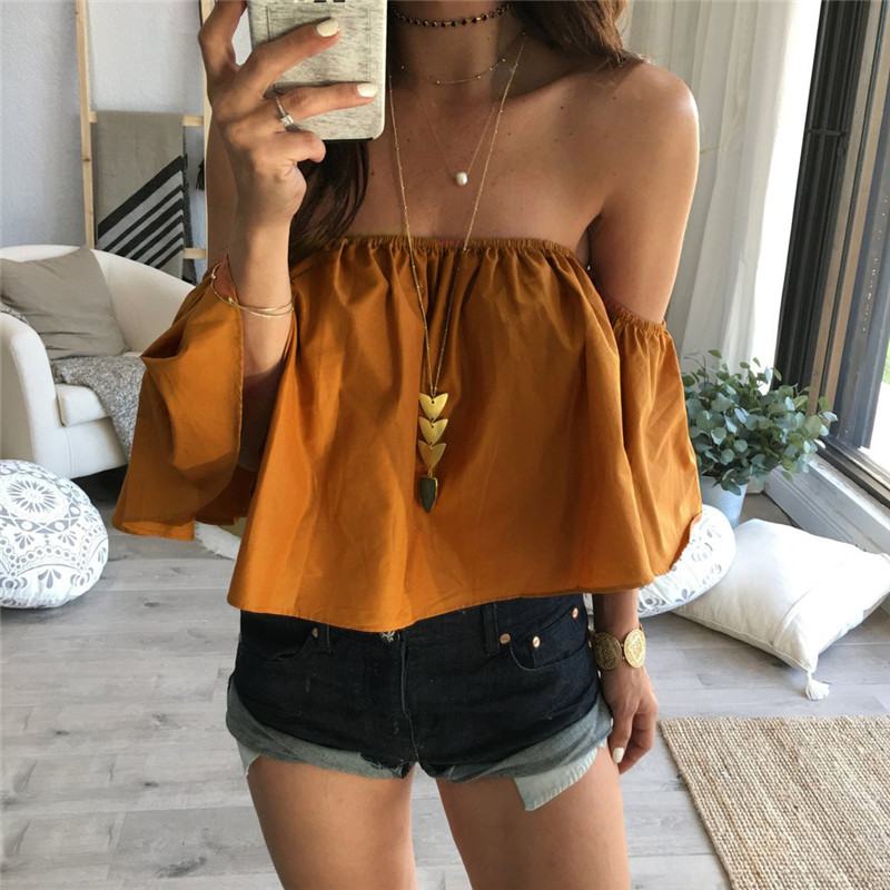 8a78c37ef823 Feitong Off Shoulder Top Blouse Cropped for Women's Sleeveless Shirt Solid  Ruffle Blouse Woman Tops Chemises ...