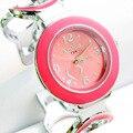 Moda Marca Rhinestone en Forma de Corazón Pulsera de Acero de Pulsera de Cuarzo Relojes Varios Deportes Relojes Señoras de Las Mujeres Relojes de Vestir