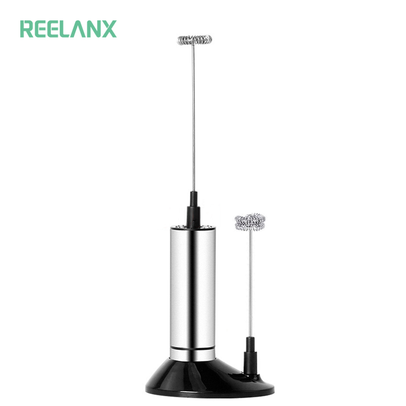 REELANX Electric Milk Frother 2 Whisk Hand Milk Foamer Kitchen Mixer for Cappuccino Coffee Egg Beate