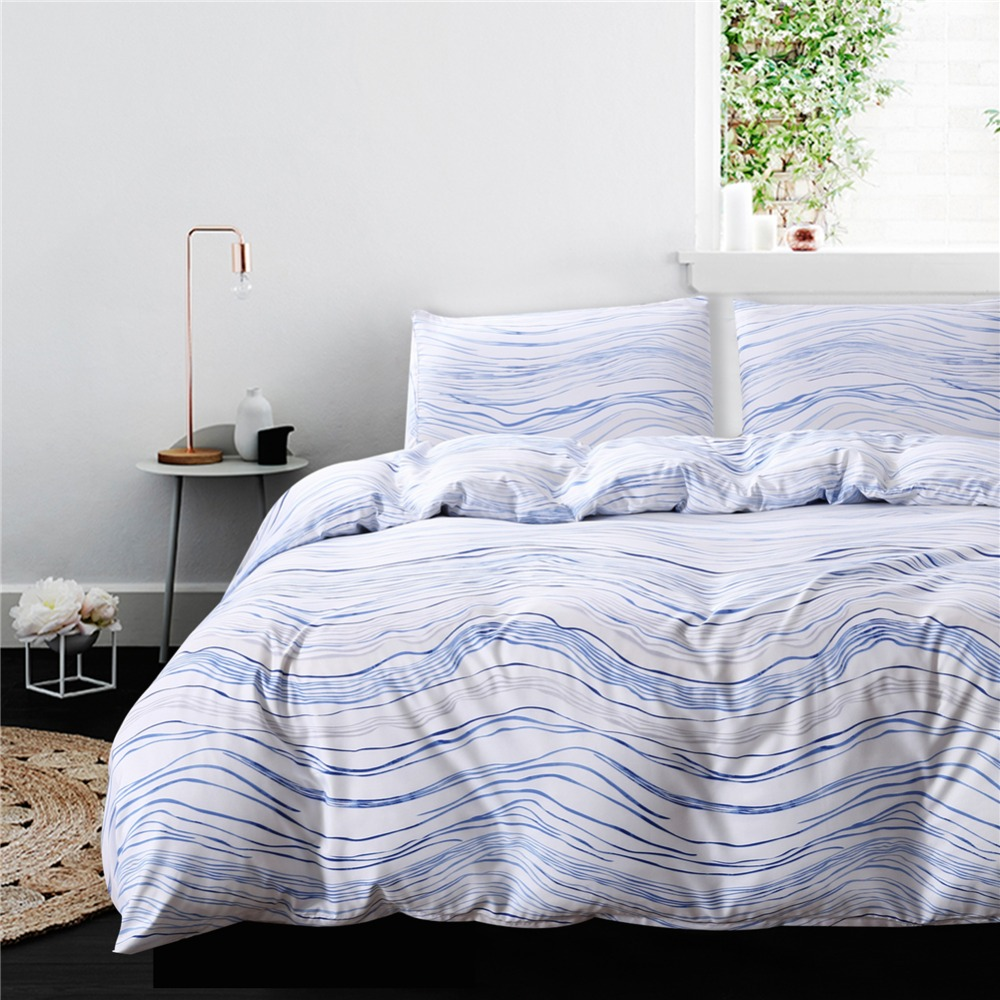 Gold Blue Wave Striped Bedding Set Duvet Cover Pillowcase
