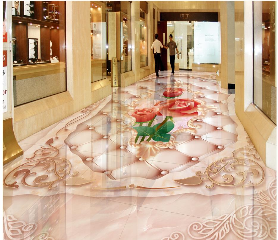 3d floor painting wallpaper European style marble rose relief 3D flooring bathroom pvc wallpaper 3d flooring free shipping high quality hd underwater world 3d flooring painting wallpaper kitchen office wear floor mural