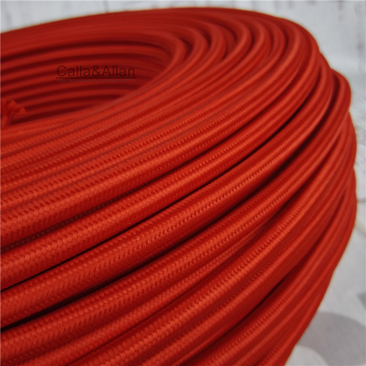 Free shipping Vintage style 3-core dark red color fabric wire DIY 3x0.75mm cloth cable cord Braided Retro Lamp Wire cable
