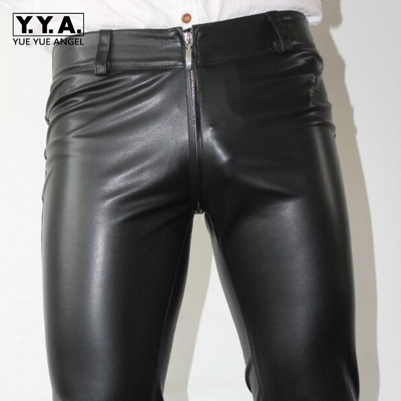 New Sexy Zipper Designer Mens Skinny Pencil Pants Pu Leather Stretchy Man Long Trousers Punk Plus Size Motorcycle Biker Pants