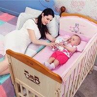 Кроватка твердой древесины без краски детская кровать шить кровать многофункциональная детская кровать