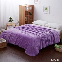 Purple Solid Color Design Fleece Sofa Blankets For Bed Throw Machine Washable Soft Air Conditioning With