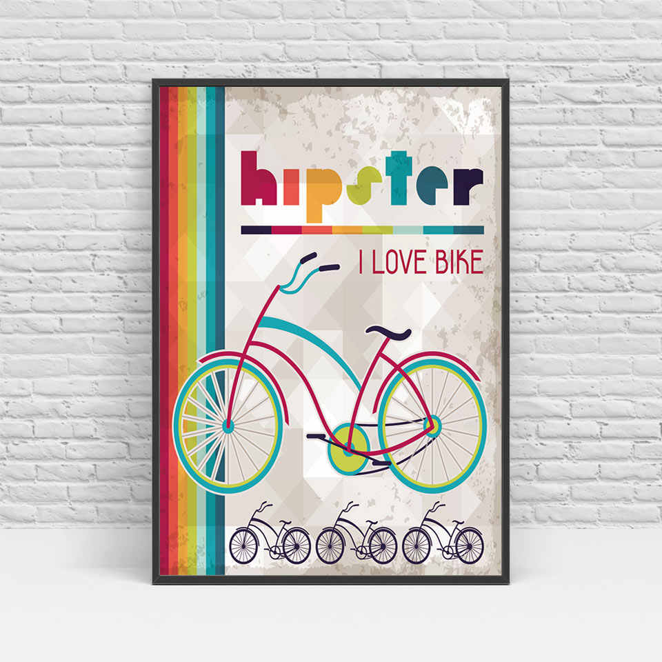 Arte de la bicicleta del tio de la barba del ciervo nórdico moderno impresión del arte de la lona del cartel imágenes de la pared para la decoración del hogar pintura sin marco