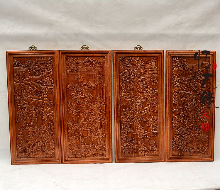 Dongyang wood carving antique Chinese vertical screen four piece camphorwood pendant TV background wall entrance beizitou Guapin dongyang woodcarving camphor wood furniture wood carved camphorwood box suitcase box antique calligraphy collection box insect d