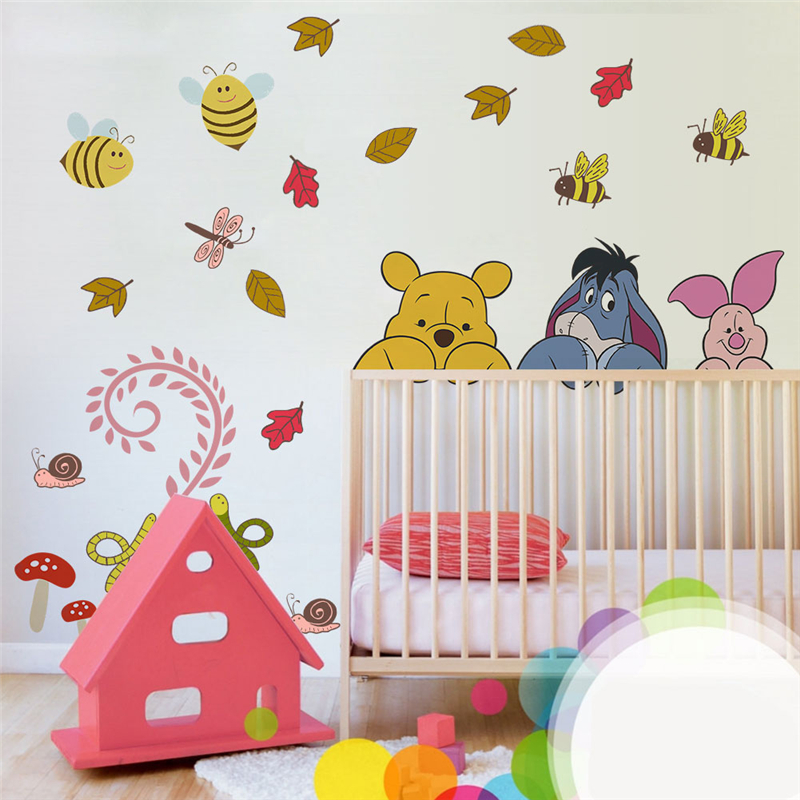 cartoon winnie pooh wall stickers for kids rooms nursery home decor disney animals zoo wall decals diy mural art diy posters in Wall Stickers from Home Garden