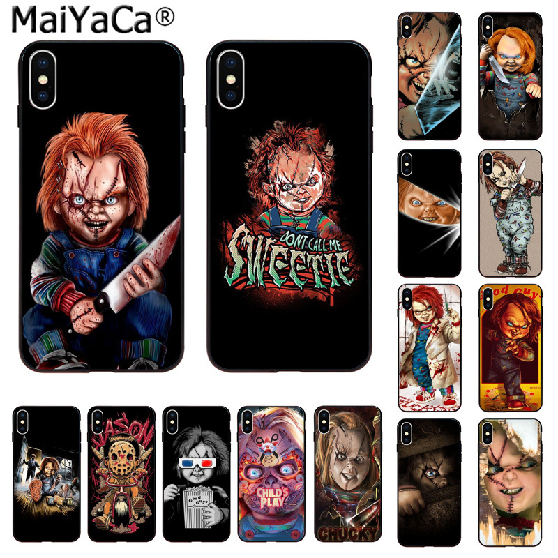 MaiYaCa Charles Lee Ray Chucky Doll Horror Movie Newly Arrived Black Cell Phone Case for iPhone 8 7 6 6S Plus 55S SE XR X XS MAX