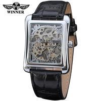 Militär Mechanische Uhr Männer Schwarz Leder Armbanduhr Für Mens Quadratischen Zifferblatt Skeleton Uhr Mann Stahl reloj automatico de hombre-in Mechanische Uhren aus Uhren bei