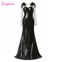 Linyixun Real Photo New Sheer Scoop Neck Squined Evening Dress Long Sparkle Mermaid Prom Dresses With