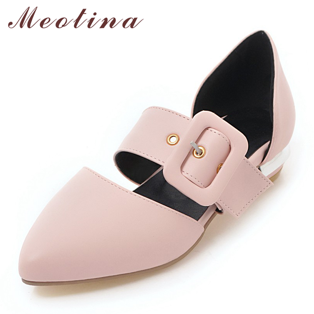 Meotina Mary Janes Flats Women Buckle Flat Fashion Shoes Pointed Toe Ladies Shoes Sweet Footwear Spring White Plus Size 3-12 46