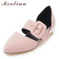 Meotina Mary Janes Flats Women Buckle Flat Fashion Shoes Pointed Toe Ladies Shoes Sweet Footwear Spring White Plus Size 3 12 46